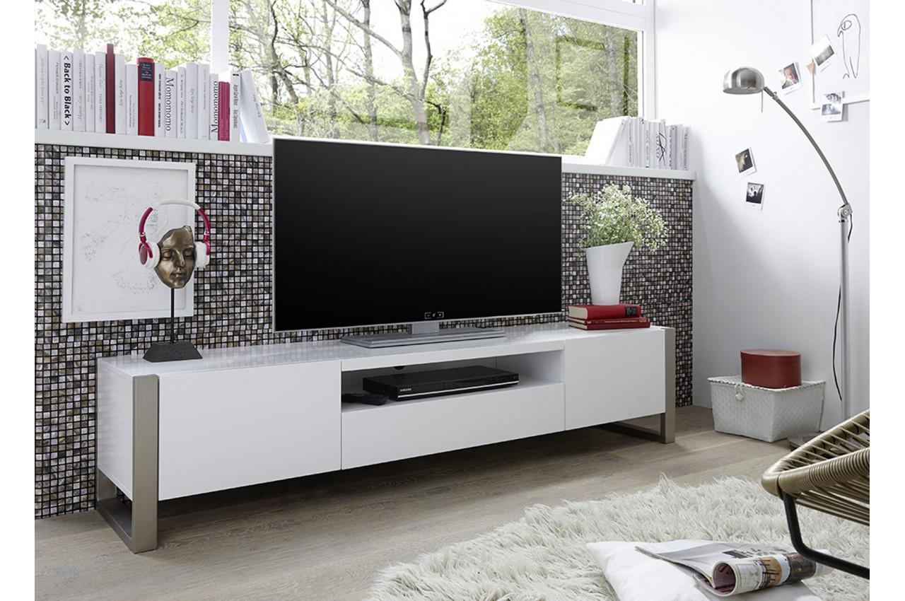 Meuble Tv Blanc Laqué Mat Design - Trendymobilier à Meuble Télé Blanc