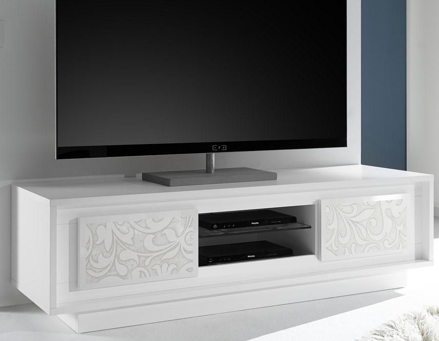 Meuble-Tv-Blanc-Laque-Mat-Serigraphie-Fleur-Design-Arum avec Meuble Tv Blanc Laqué But