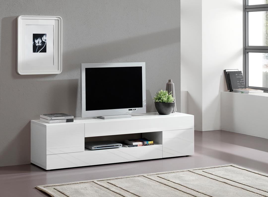 Meuble Tv Blanc Moderne - Choix D'Électroménager destiné Meuble Tv Blanc Laqué Pas Cher