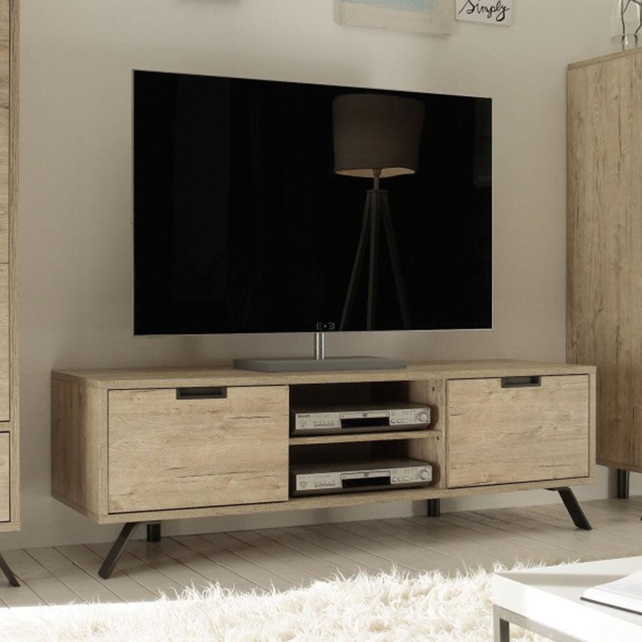 Meuble Tv Bois Et Metal, Banc Tv Bois, Petit Meuble Television pour Meuble Tele Moderne