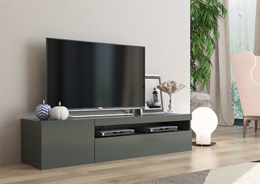 Meuble Tv Daiquiri Gris Anthracite Brillant encequiconcerne Meuble Tv Gris Anthracite