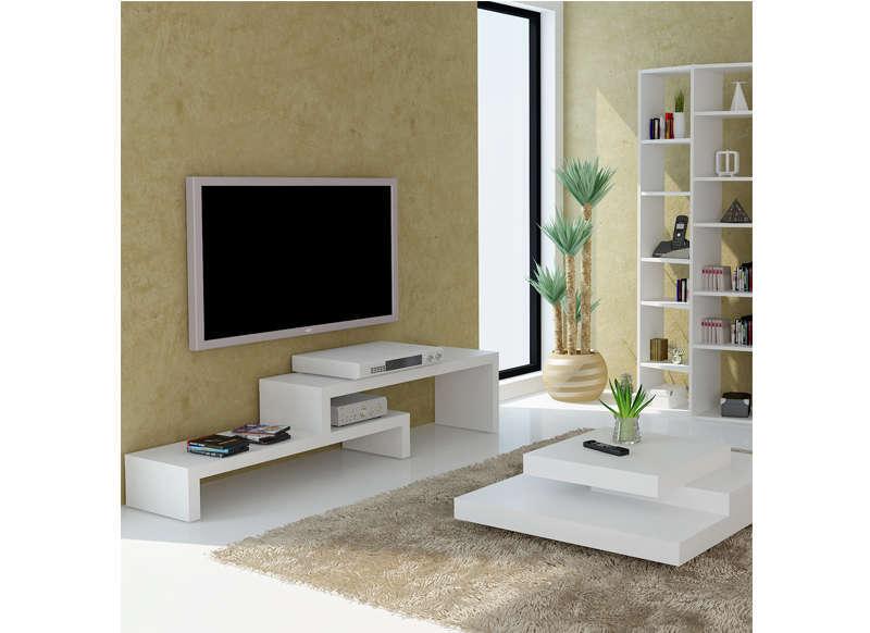 Meuble Tv Design Blanc 125 Cm Skien pour Meuble Télé Blanc