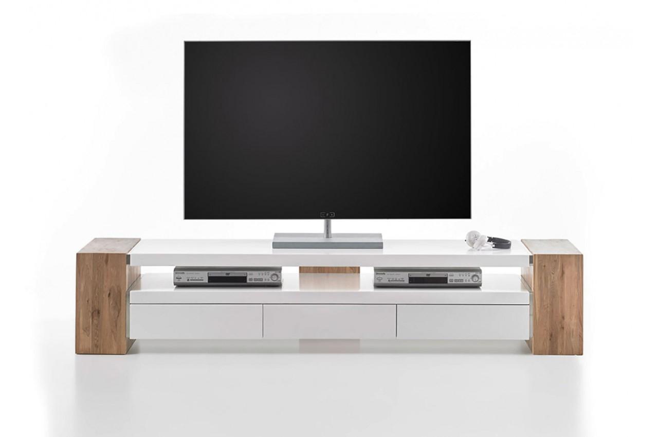 Meuble Tv Design Blanc Et Bois 200Cm - Trendymobilier serapportantà Meuble Télé Blanc