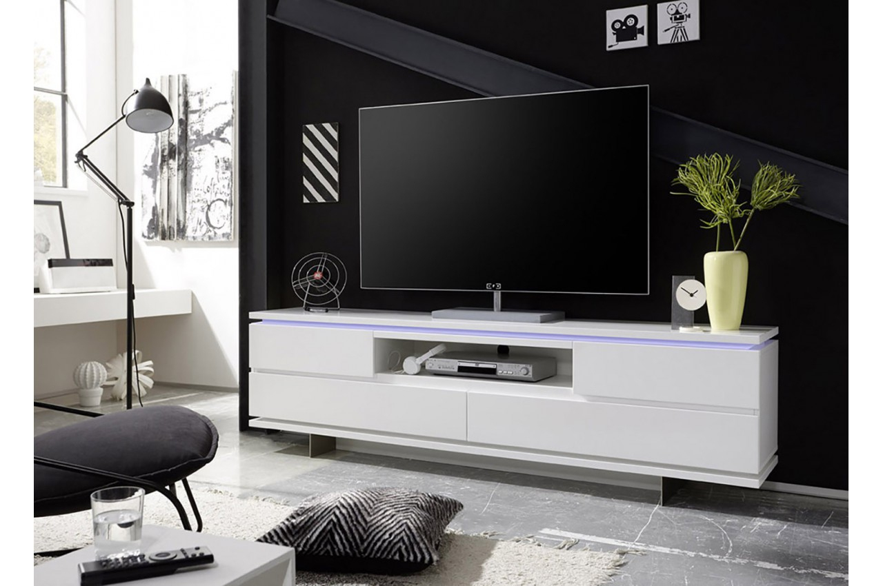 Meuble Tv Design Blanc Laqué Mat Et Pied Métal - Cbc-Meubles dedans Meuble Tv Blanc Laqué But