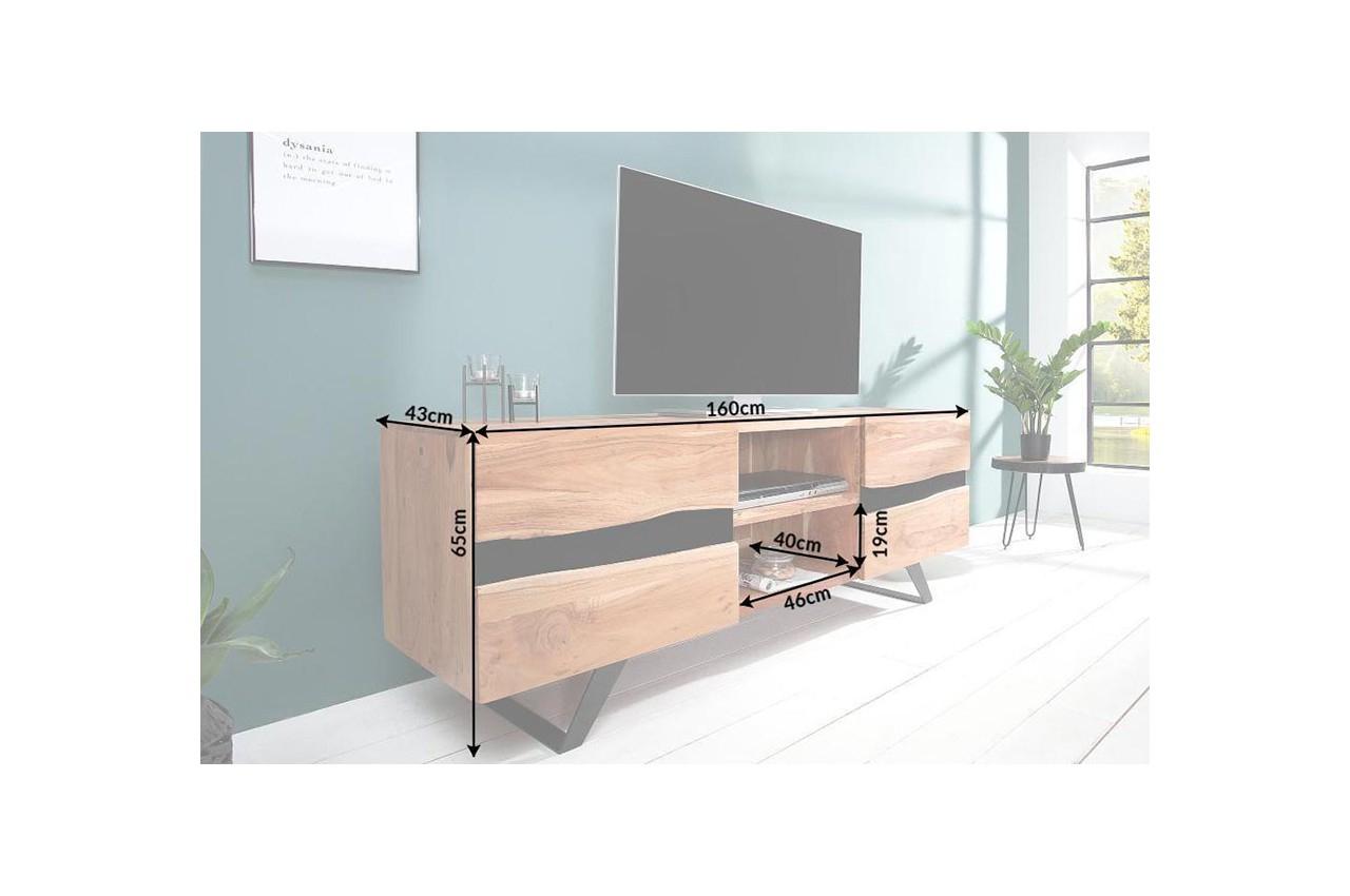 Meuble Tv Design Bois Massif Et Métal 160 Cm / Acacia Pour tout Meuble Tv Métallique
