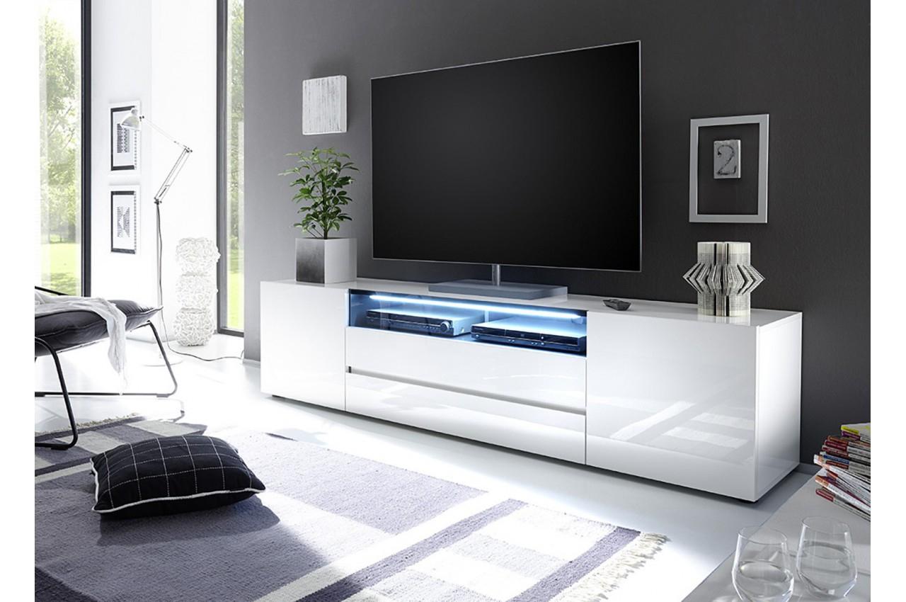 Meuble Tv Design Laqué Blanc 2M - Cbc-Meubles destiné Meuble Tv Blanc Laqué But
