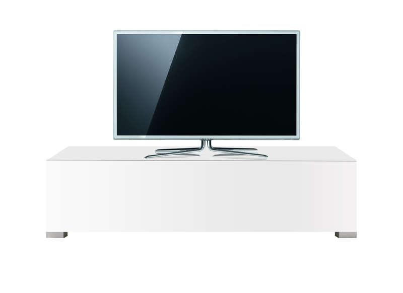 Meuble Tv Design Laqué Blanc Atlantis encequiconcerne Meuble Tv Blanc Laqué Pas Cher
