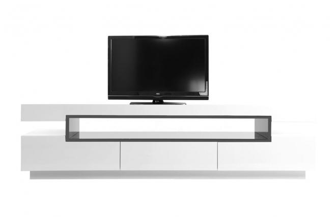 Meuble Tv Design Laqué Blanc Livo - Meuble Tv Miliboo tout Meuble Tv Blanc Laqué Pas Cher