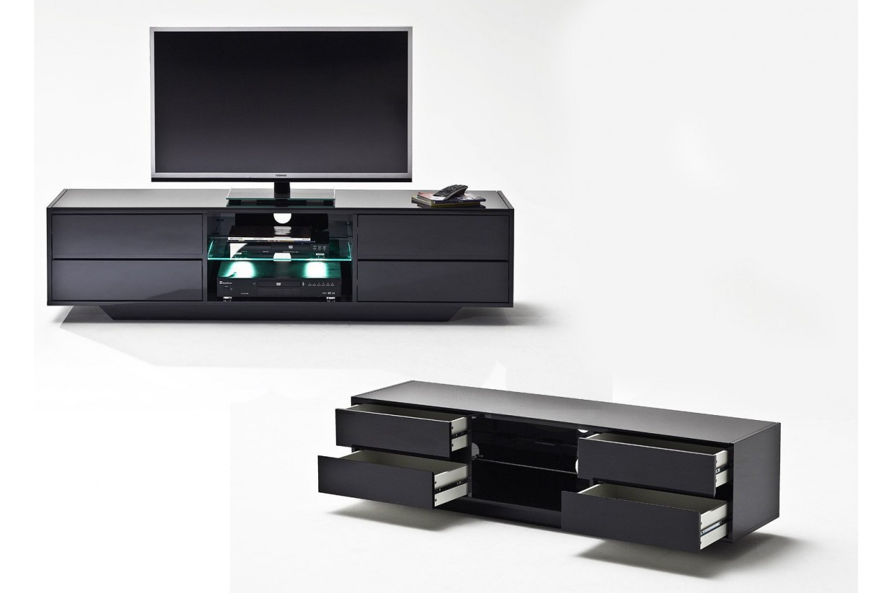 Meuble Tv Design Noir Laqué À Led - Cbc-Meubles dedans Meuble Tv Noir Haut