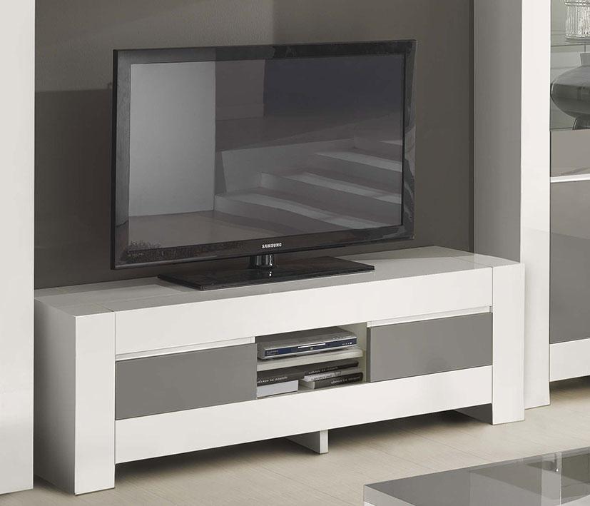 Meuble Tv Gris Et Blanc Laqué Italien Qualité Haut De Gamme encequiconcerne Meuble Tv Blanc Laqué But