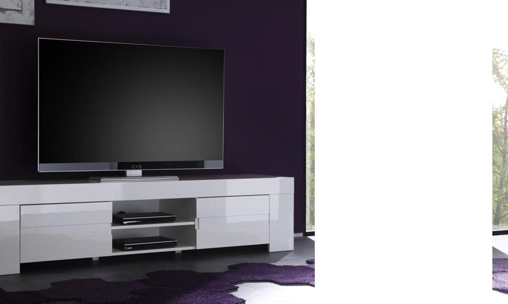 Meuble Tv-Hifi Design Elios, Coloris Blanc Laqué encequiconcerne Meuble Télé Blanc Laqué