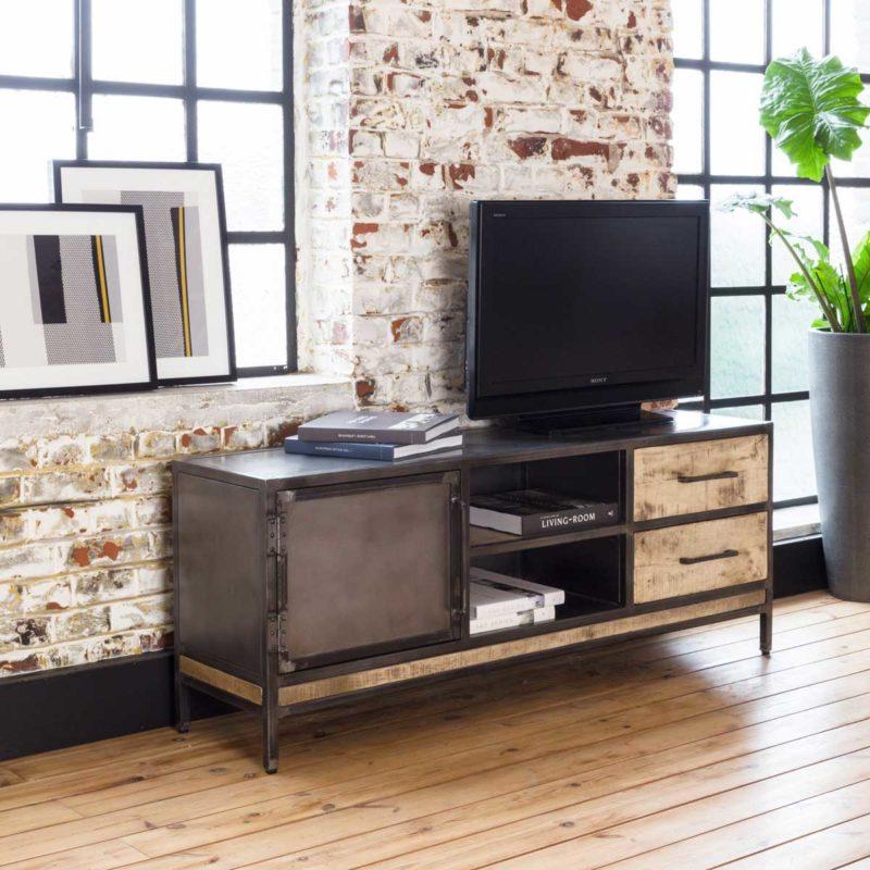 Meuble Tv Industriel : 20 Modèles Pour La Déco Du Salon à Meuble Tv Métallique