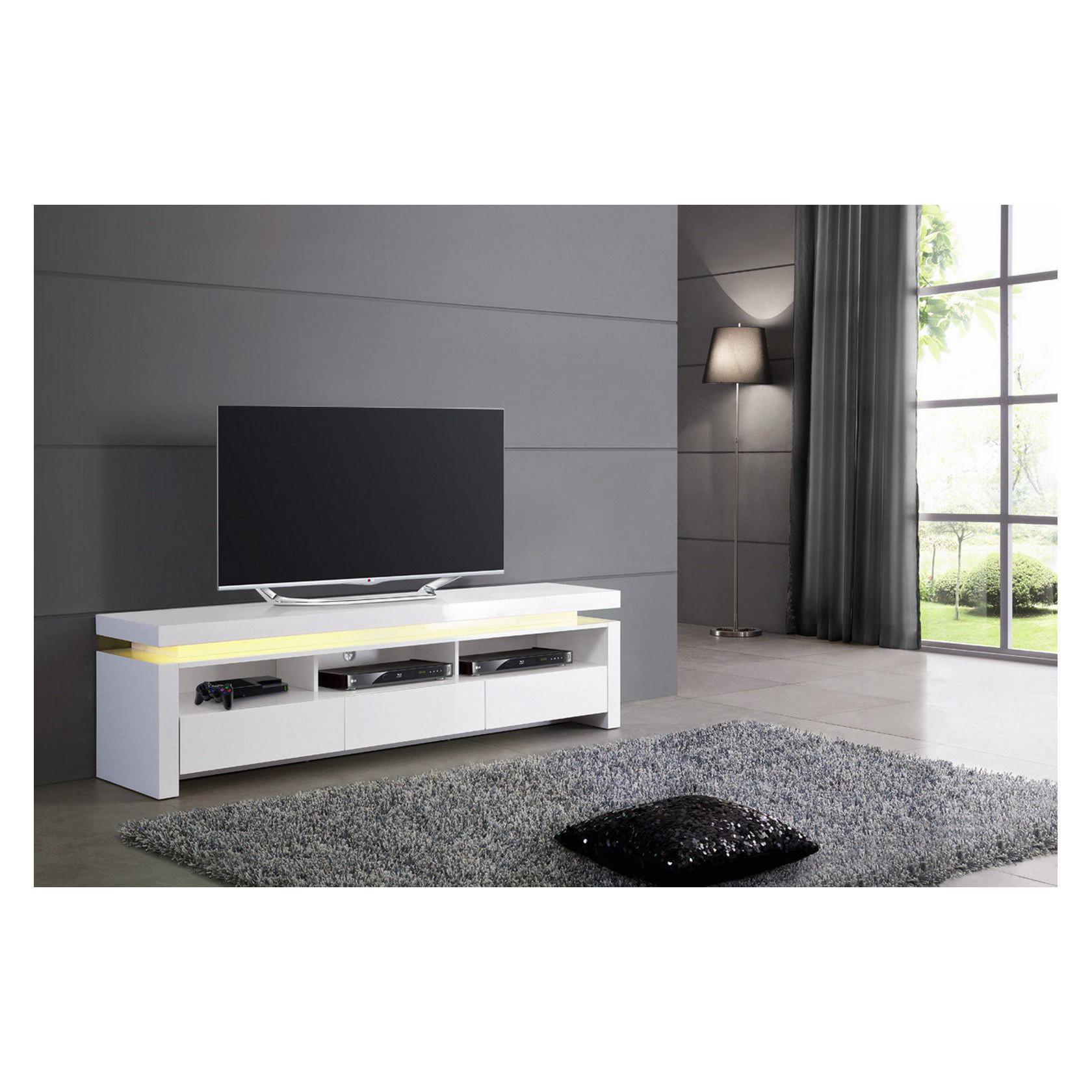 Meuble Tv Lumineux Modulable Pas Cher Sur Wwwforium encequiconcerne Meuble Tv Blanc Laqué Pas Cher
