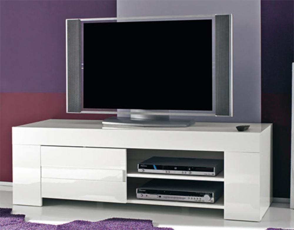 Meuble Tv Messina / Livorno Laqué Blanc L 140 X H 45 X P 50 encequiconcerne Meuble Tv Haut