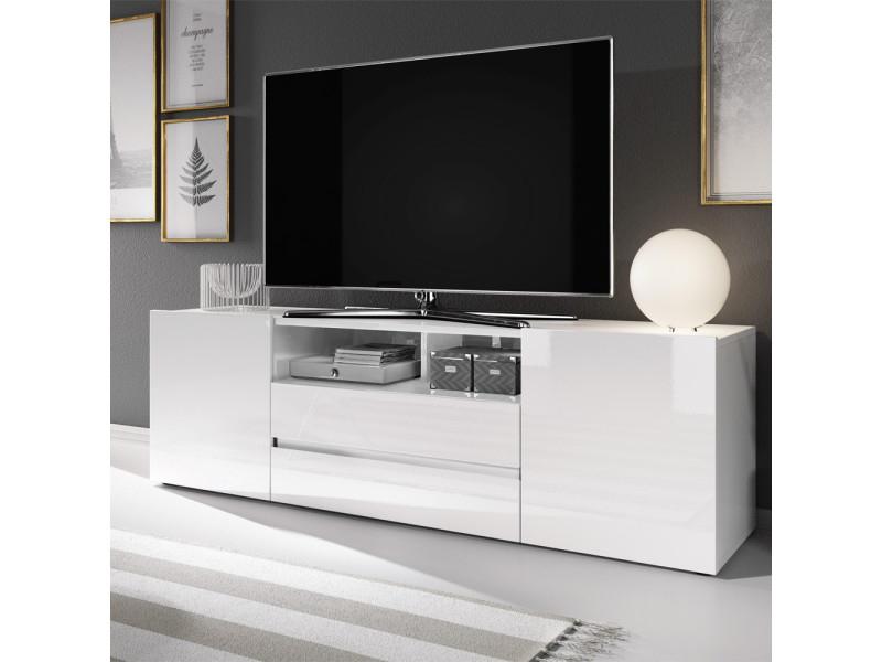 Meuble Tv / Meuble De Salon - Bros - 137 Cm - Blanc Mat encequiconcerne Meuble Télé Blanc