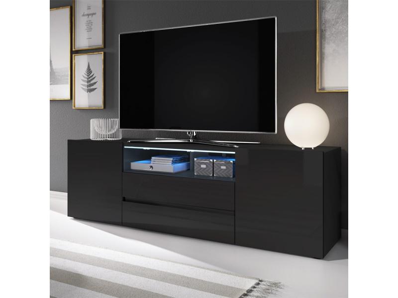 Meuble Tv / Meuble De Salon - Bros - 137 Cm - Noir Mat pour Meuble Tv Noir Haut
