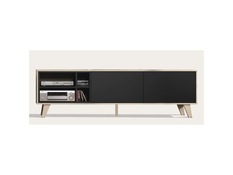 Meuble Tv - Meuble Hi-Fi Zaiken Meuble Tv Scandinave Gris destiné Meuble Tv Gris Anthracite