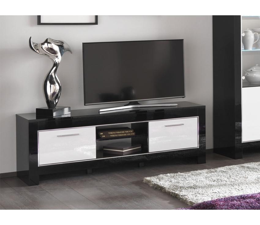 Meuble Tv Modena Laqué Noir Et Blanc Pas Cher dedans Meuble Tv Noir Haut