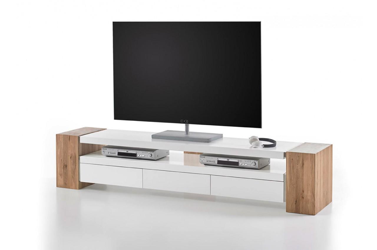 Meuble Tv Moderne Bois Et Blanc Laqué Pour Salon avec Meuble Tele Moderne
