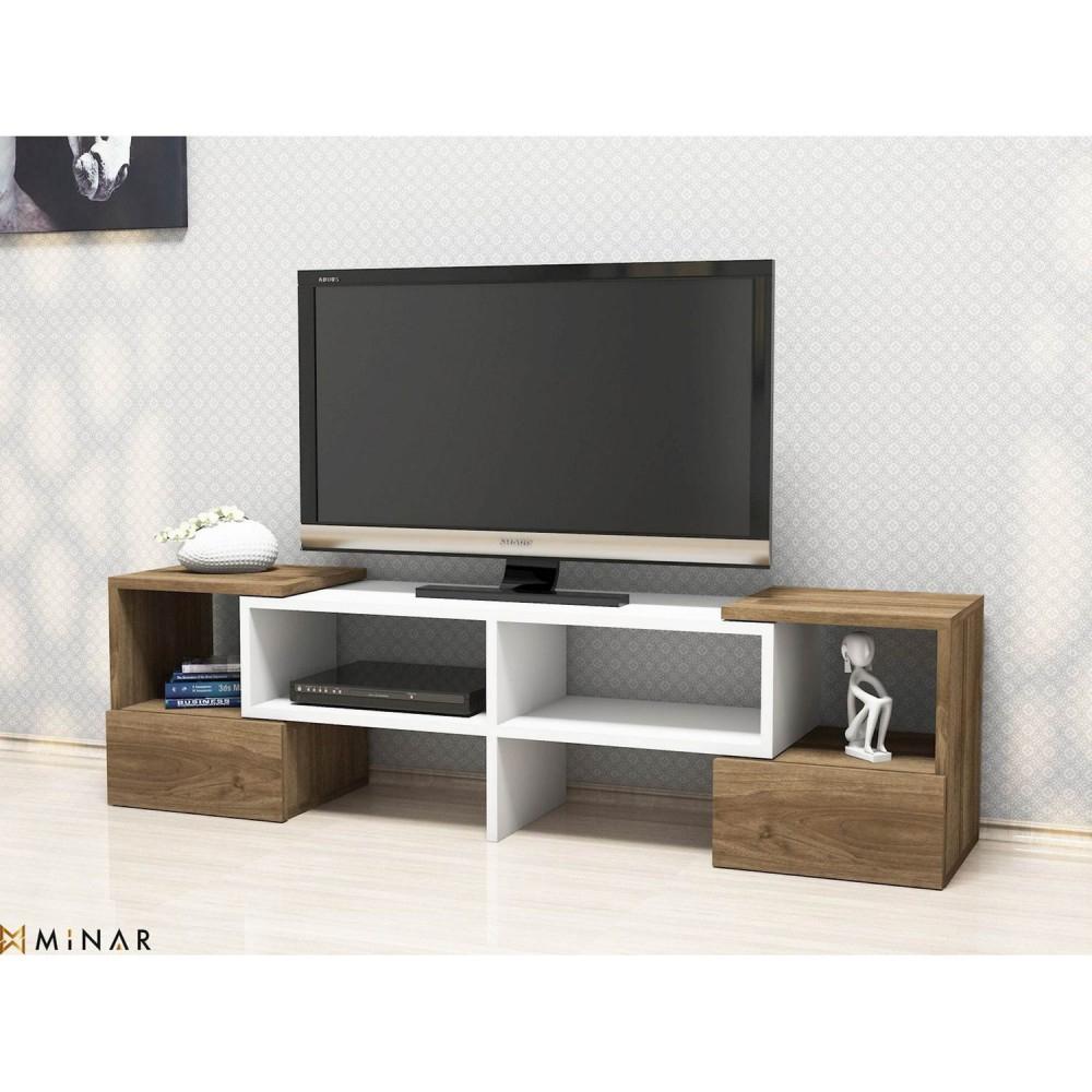 Meuble Tv Moderne Fold - 141 X 39 Cm - Blanc Et Marron intérieur Meuble Tv But