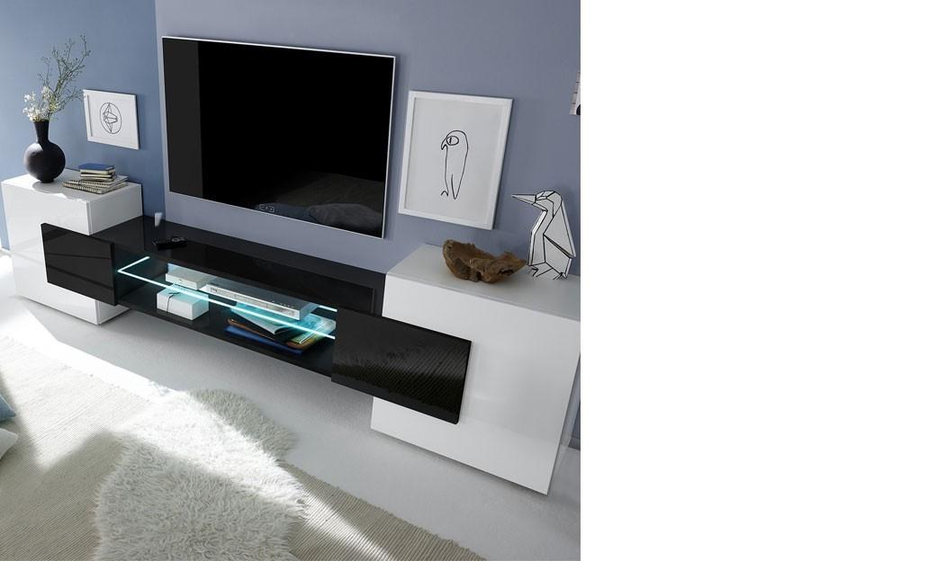 Meuble Tv Moderne Laqué Blanc Et Noir Trivia 3 destiné Meuble Télé Blanc Laqué