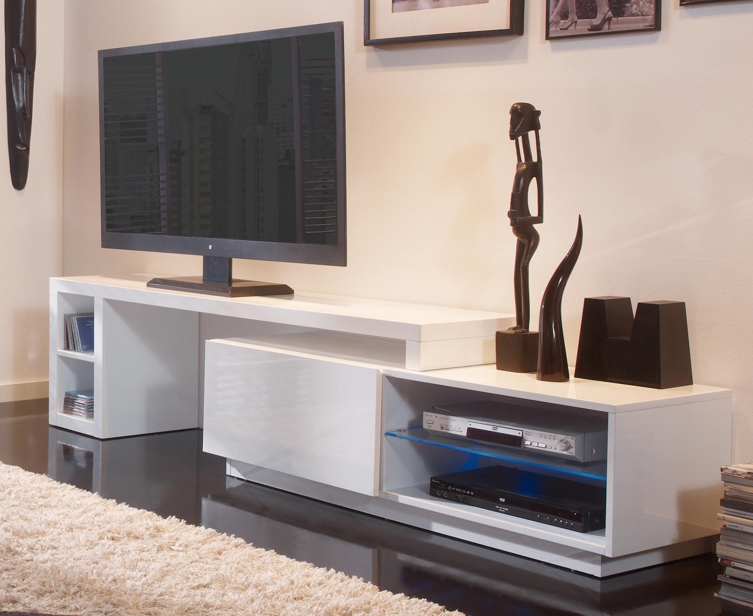 Meuble Tv Modulable À Led Blanc Laqué Urban | Lestendances.fr encequiconcerne Meuble Télé Blanc Laqué
