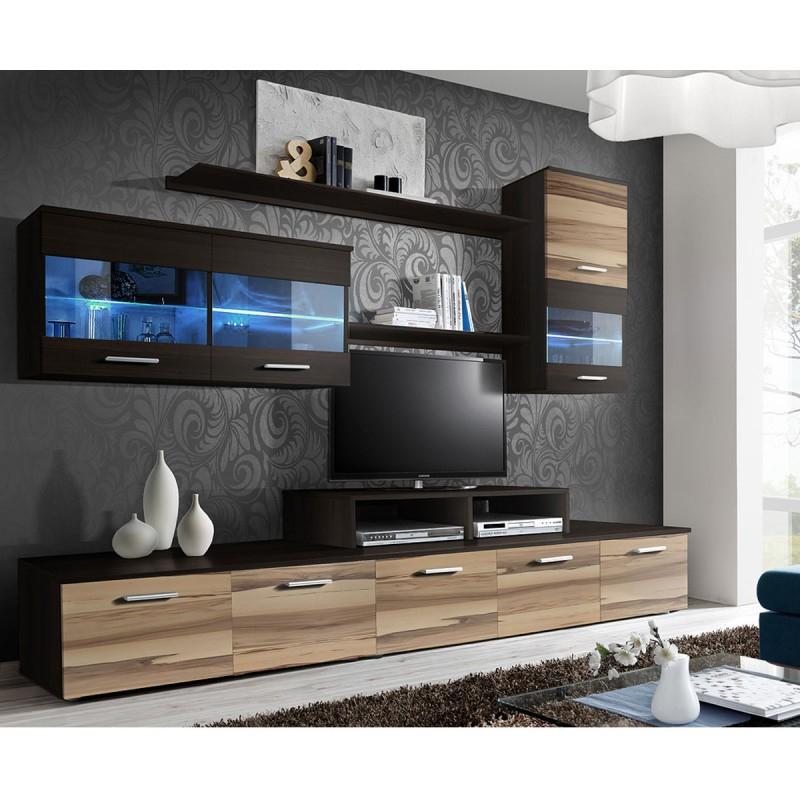 "Meuble Tv Mural Design ""'Logo"" 250Cm Noyer & Wengé intérieur Meuble Tv Mural"