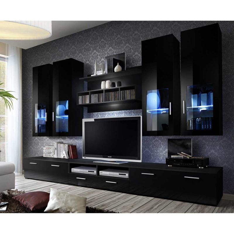 "Meuble Tv Mural Design ""Lyra"" 300Cm Noir serapportantà Meuble Tv Mural"