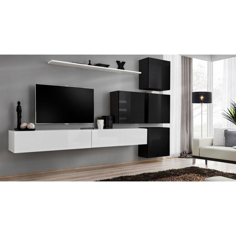 """Meuble Tv Mural Design """"Switch Ix"""" 310Cm Blanc & Noir dedans Meuble Tv Mural"""