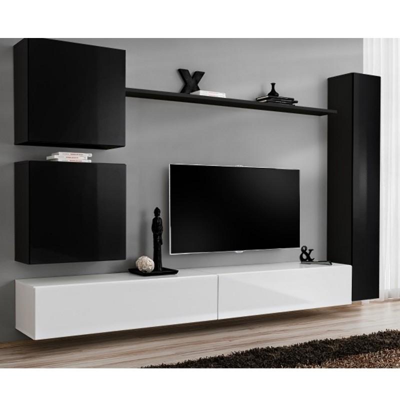 """Meuble Tv Mural Design """"Switch Viii"""" 280Cm Noir & Blanc intérieur Meuble Télé Blanc"""