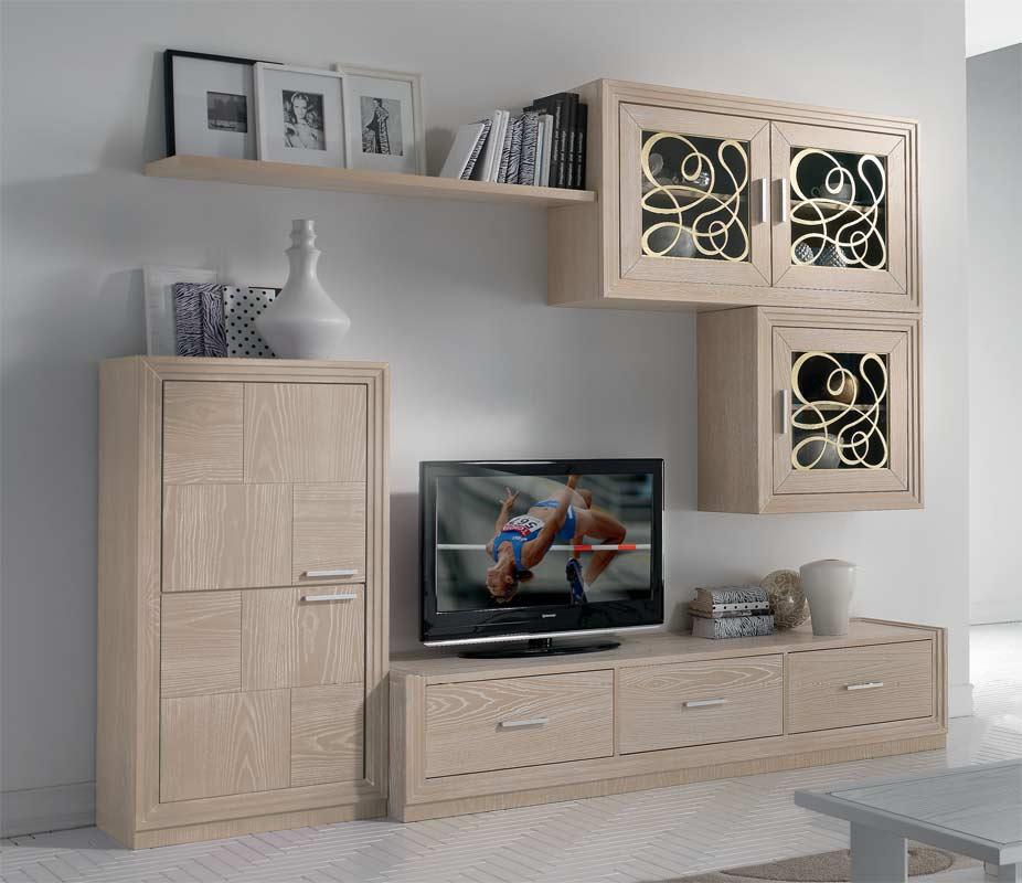 """Meuble Tv Mural Pour Salon En Bois Naturel """"Nice serapportantà Meubles Salon Nice"""