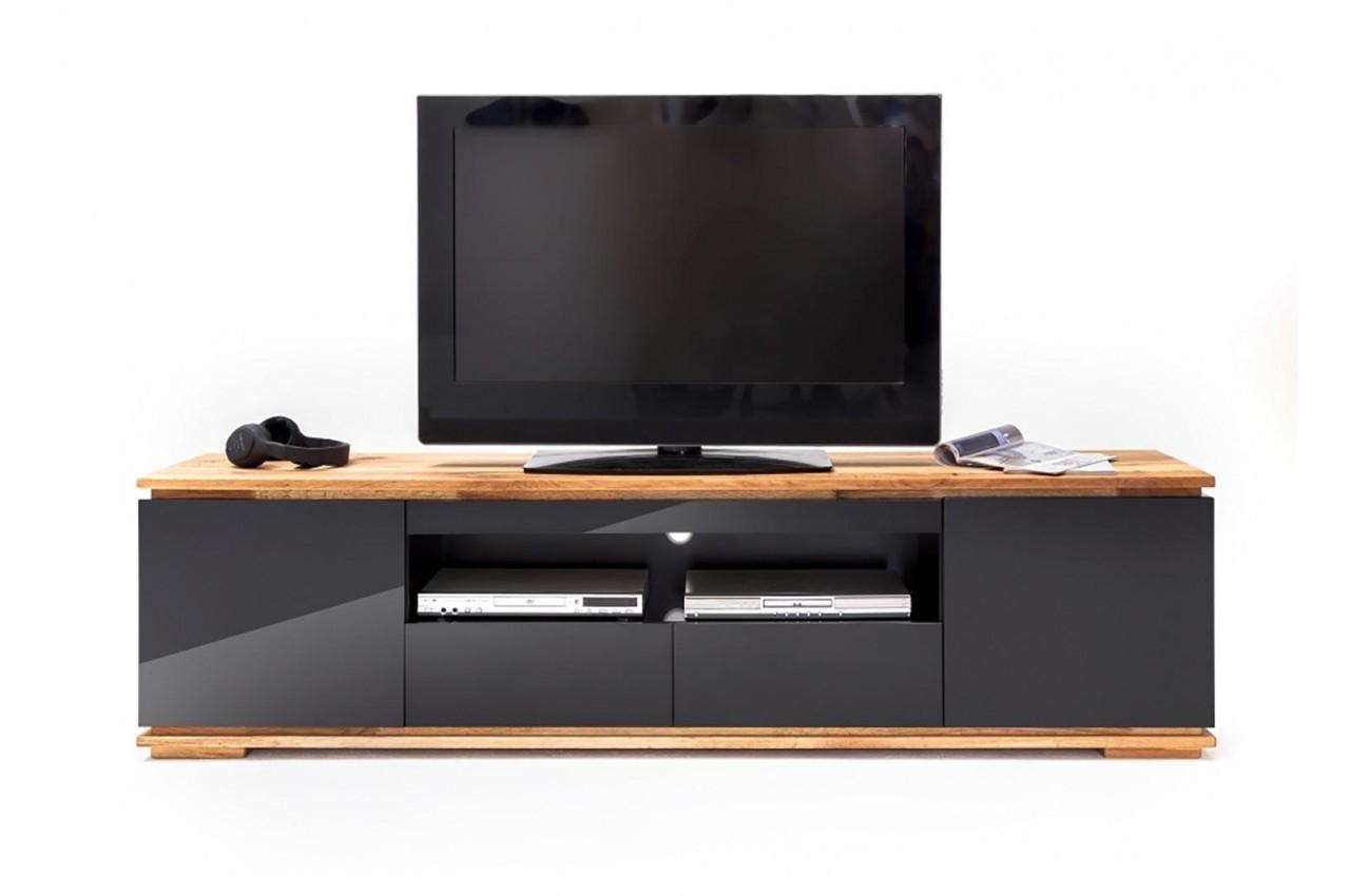 Meuble Tv Noir Laqué Design 2 M - Cbc-Meubles destiné Meuble Tv Noir Haut