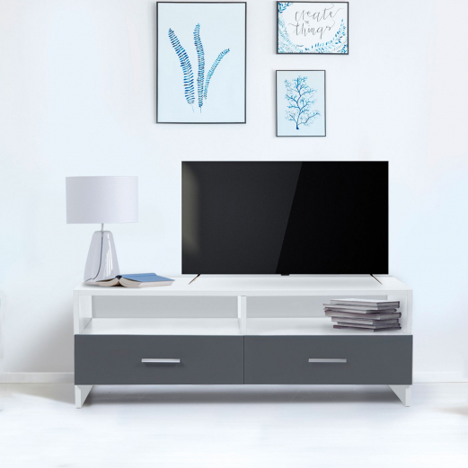 Meuble Tv Pas Cher Blanc Et Gris Avec Rangement | Id Market avec Meuble Tv Blanc Laqué Pas Cher