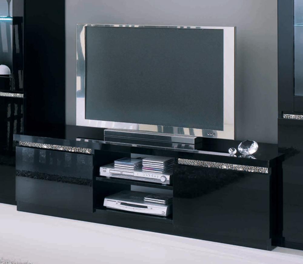 Meuble Tv Plasma Cromo Laque Noir encequiconcerne Meuble Tv Noir Haut