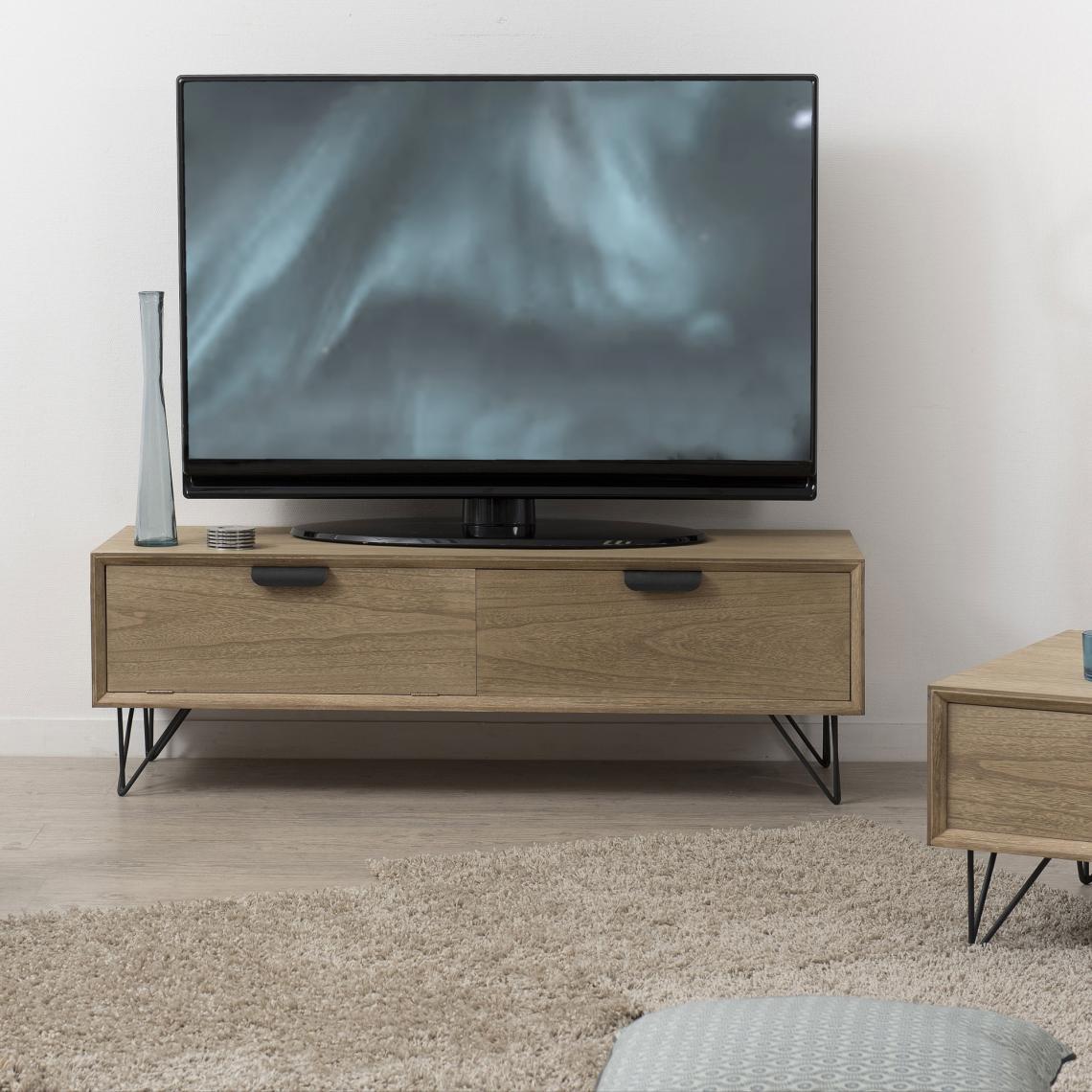 Meuble Tv Rectangulaire 1 Porte 1 Tiroir Pieds Épingle En tout Meuble Tv 3 Suisses