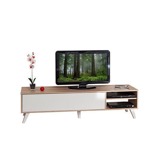 Meuble Tv Scandinave Cosmos Chêne Et Blanc   Meuble Tv encequiconcerne Meuble Tv Scandinave Pas Cher