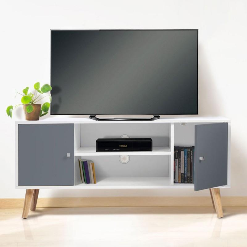 Meuble Tv Scandinave Pas Cher En Bois Gris Et Blanc | Id tout Meuble Tv Blanc Laqué Pas Cher