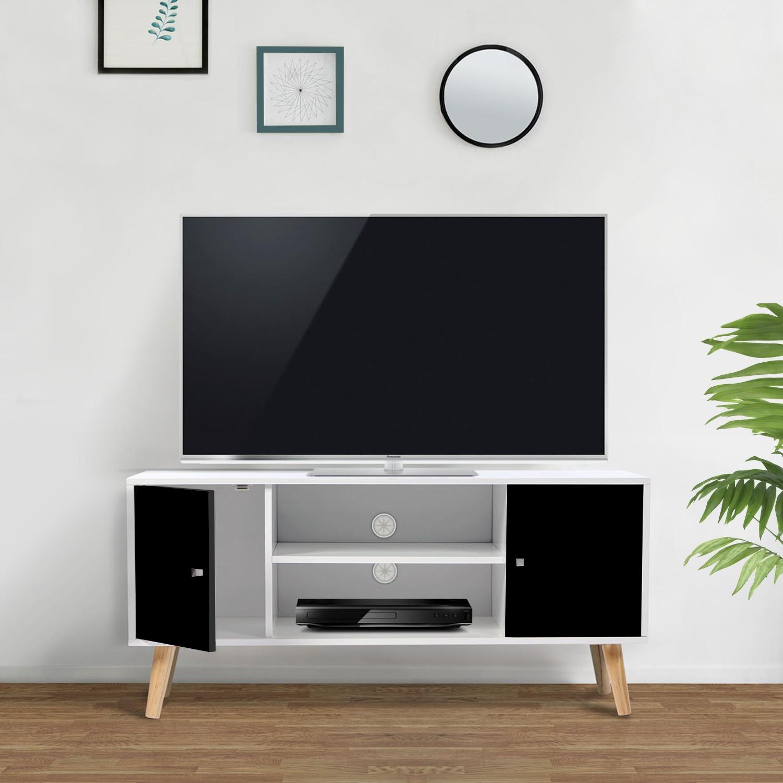 Meuble Tv Scandinave Pas Cher En Bois Noir Et Blanc   Id concernant Meuble Tv Scandinave Pas Cher