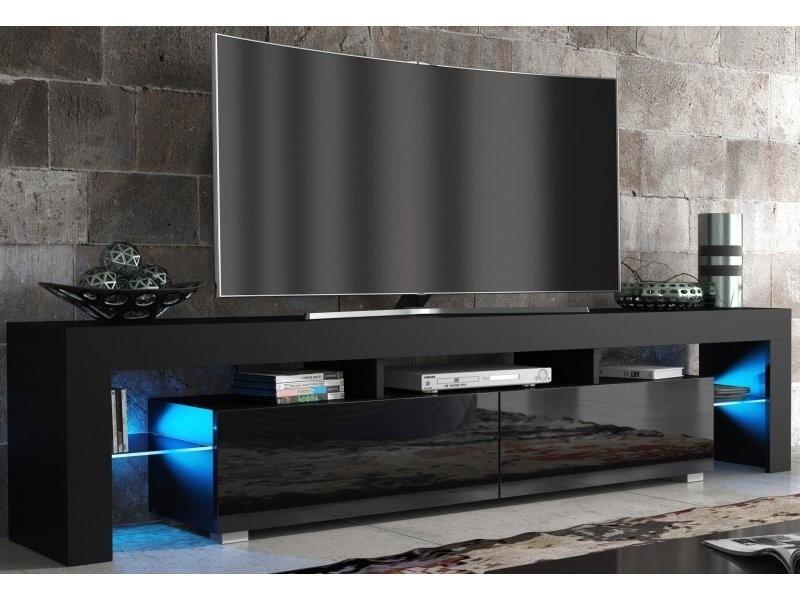 Meuble Tv Spider Big À Led En Noir Mat Avec Portes Noir à Meuble Tv Noir Haut