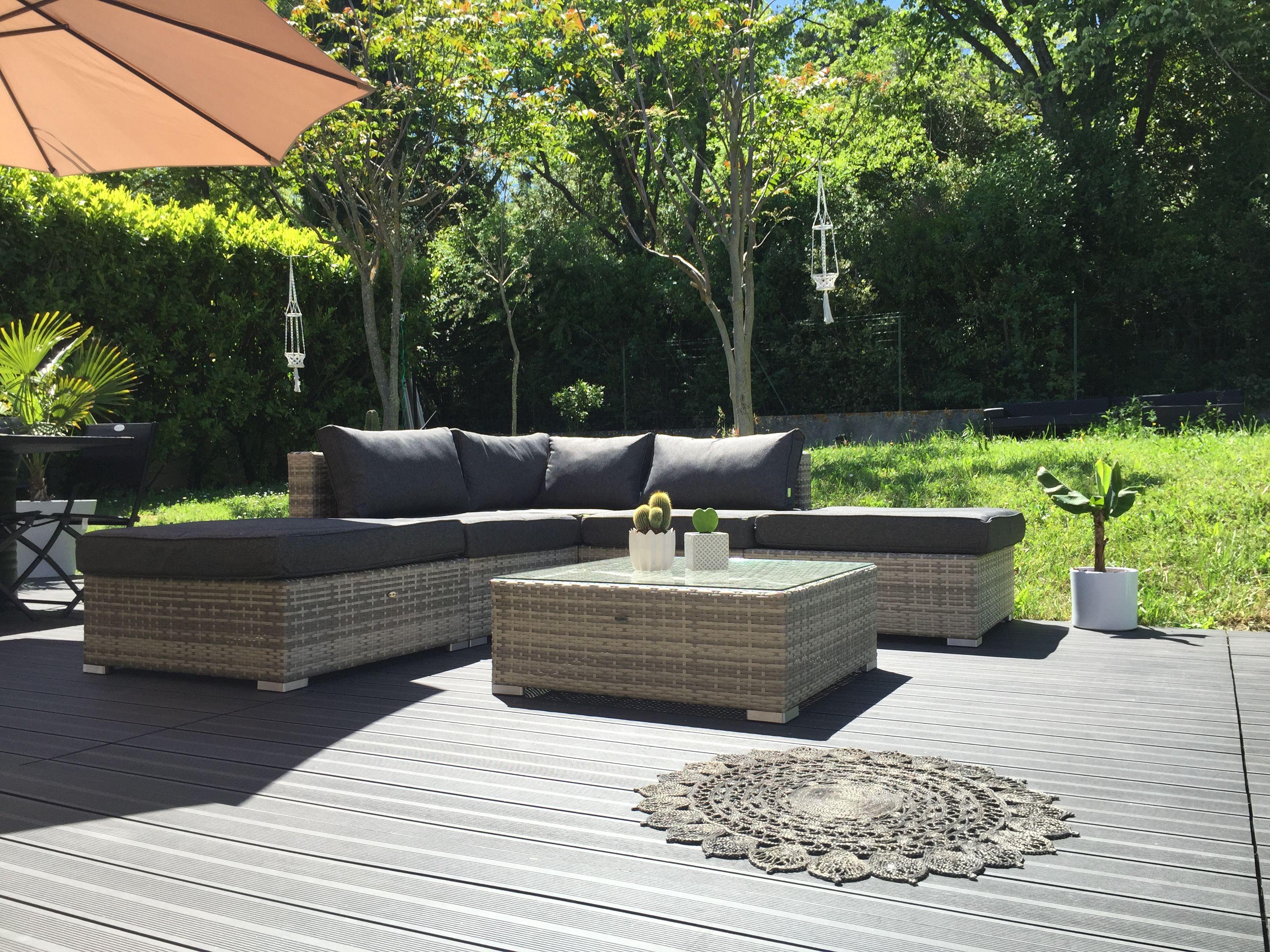 Milano: Salon De Jardin 7 Places En Résine Tressée #Jardin pour Salon De Jardin Modulable Jade