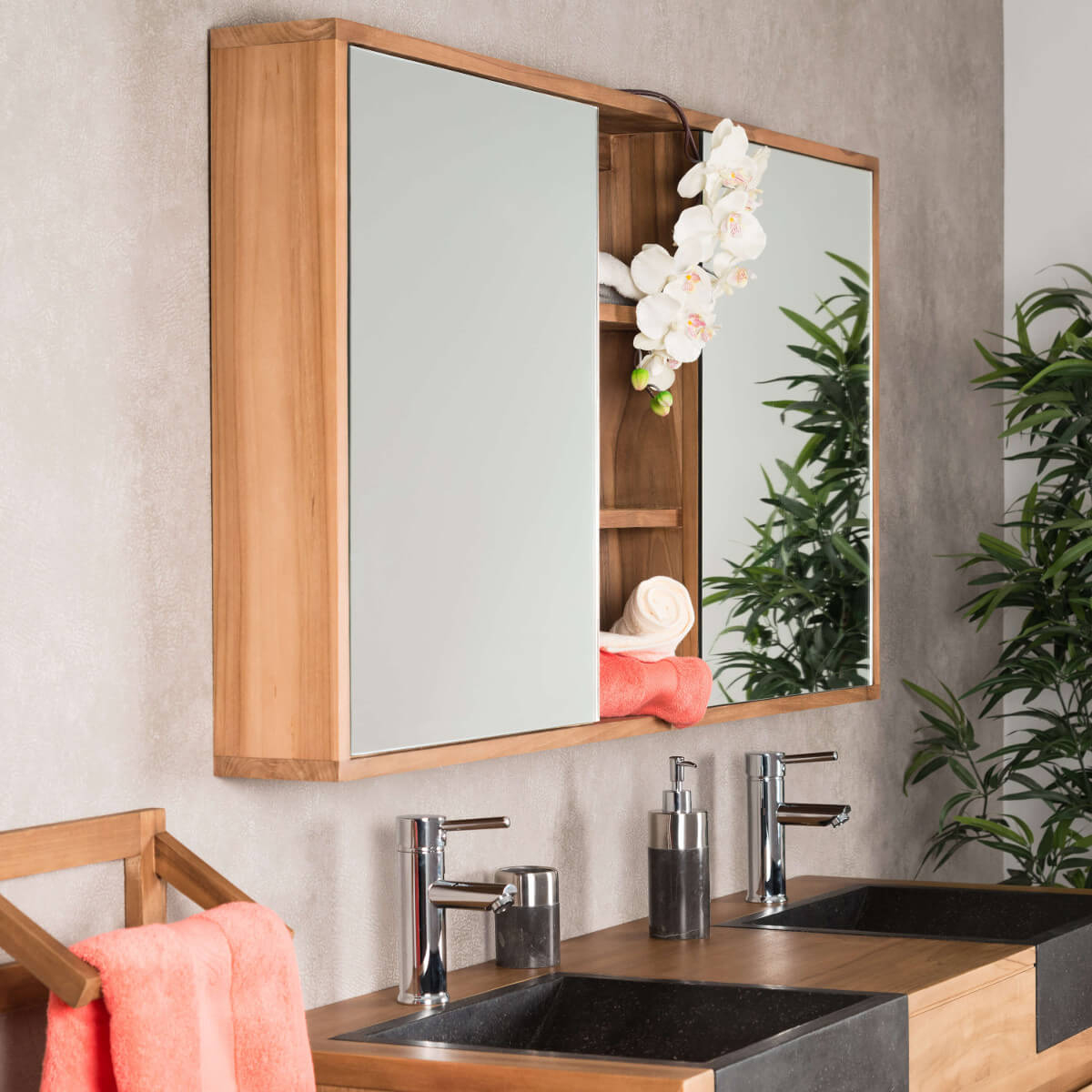 Miroir Armoire De Toilette En Bois (Teck) Massif concernant Miroir Salle De Bain