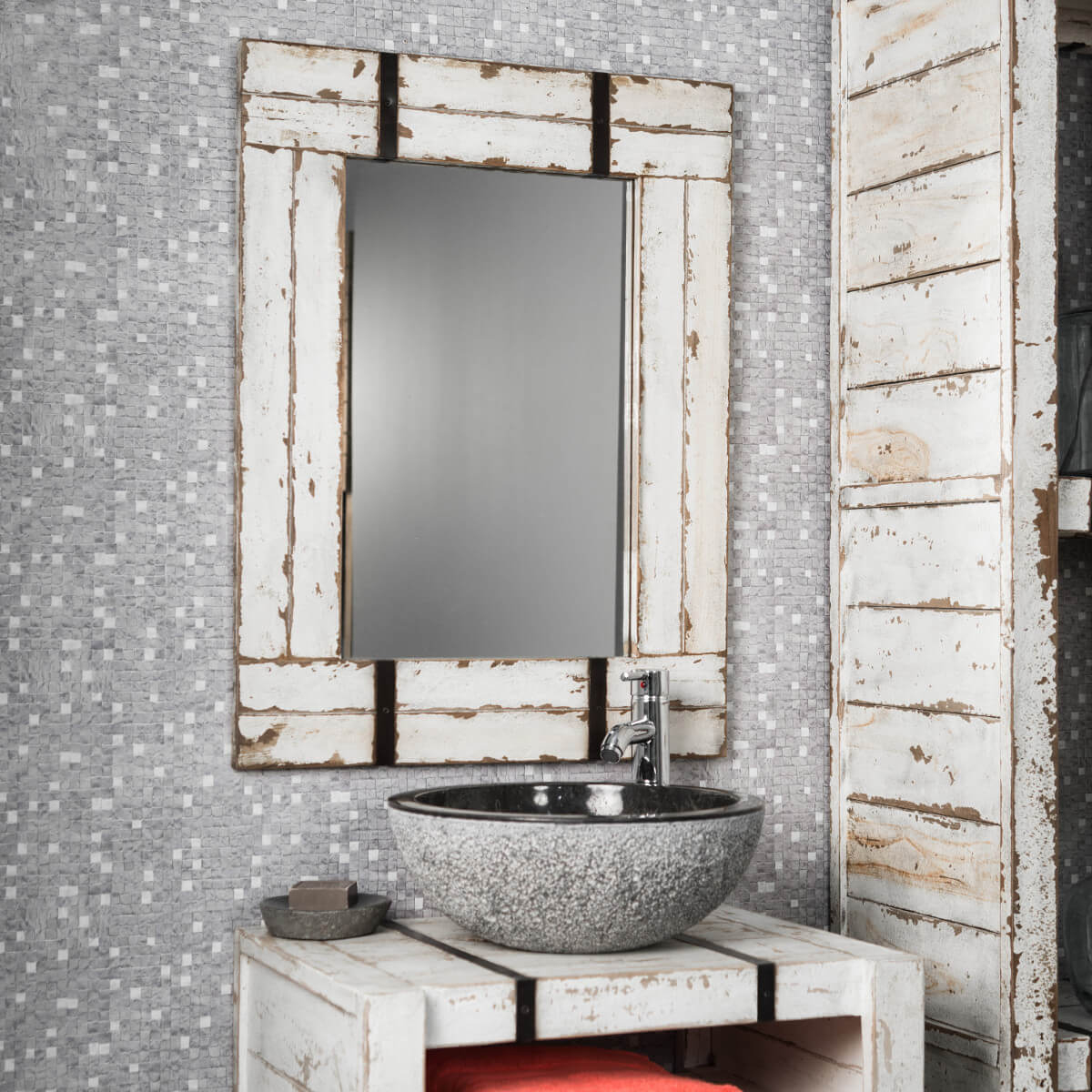 Miroir De Salle De Bain En Mindi 60X80 Loft Blanc dedans Mirroir Salle De Bain