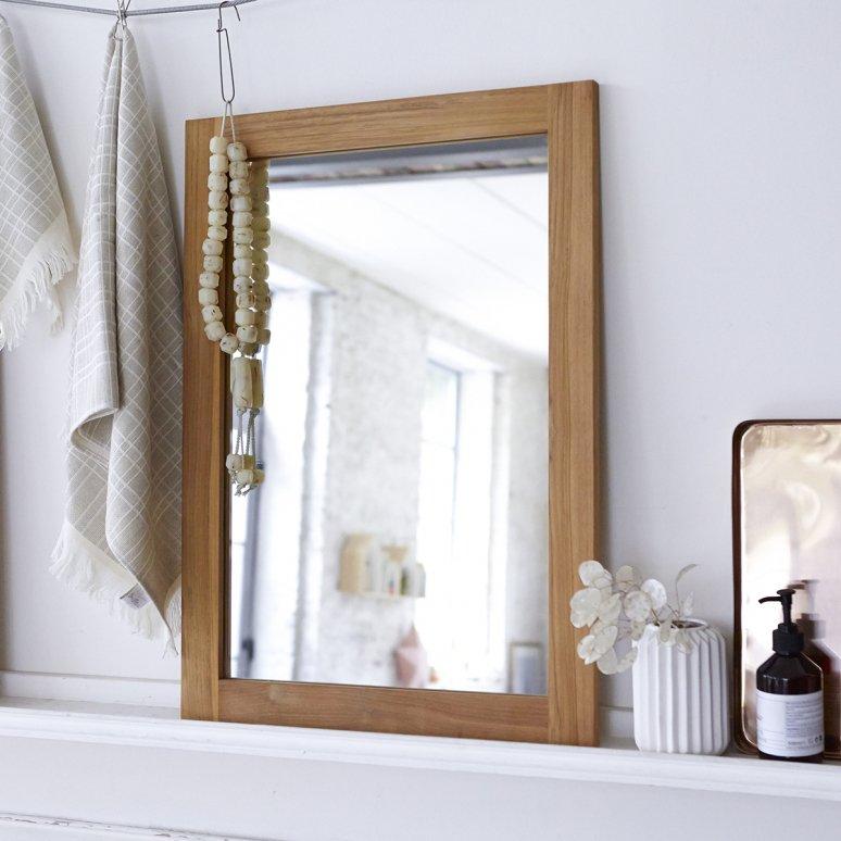 Miroir En Teck 70 X 50 Cm - Accessoires Pour Salle De Bain à Miroir Salle De Bain