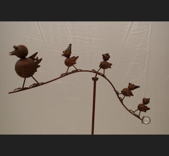 Mobile-Oiseaux-Metal-Traite-Fer-Forge-Decoration-De-Jardin concernant Deco Metal Jardin