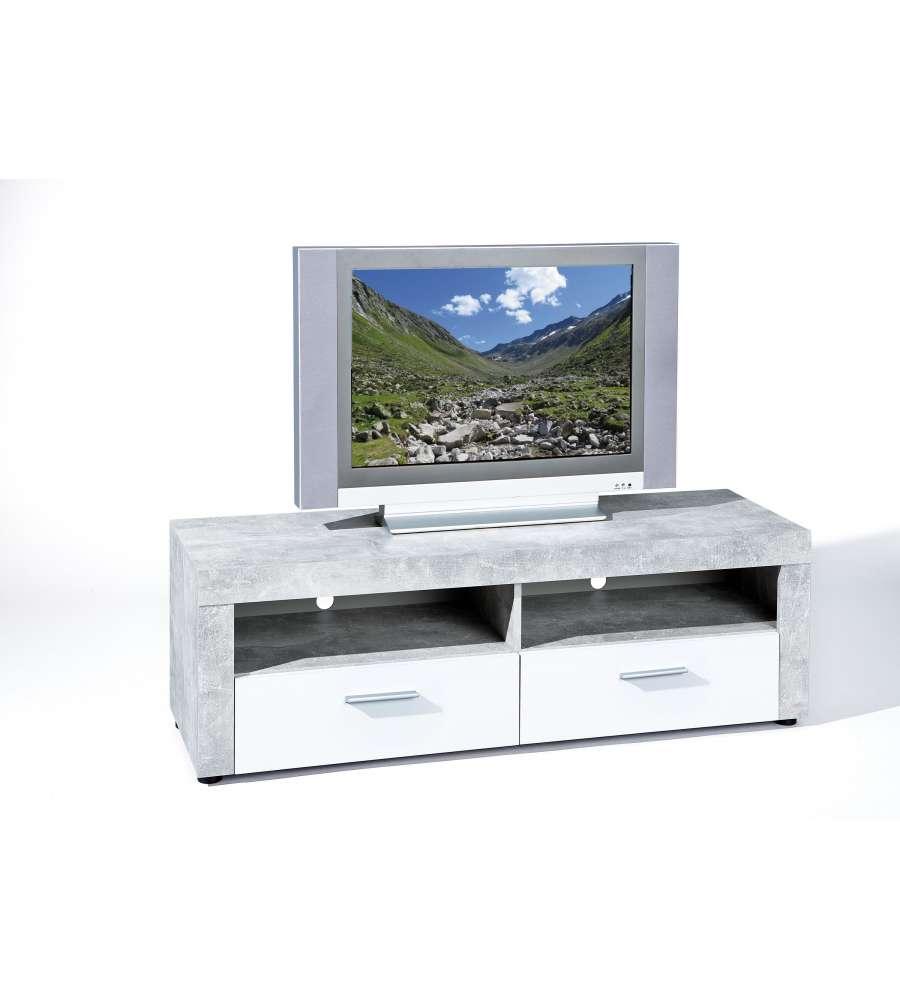 Mobile Tv Effetto Marmo Con 2 Cassetti Di Colore Bianco intérieur Meuble Tv Sono