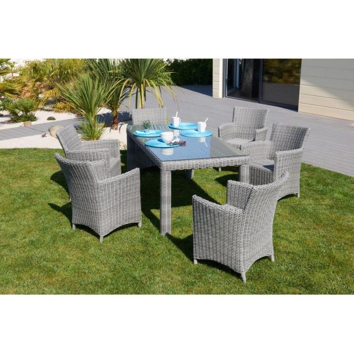 Mobilier De Jardin Résine Tressée Table Et Chaises Gris dedans Table Et Chaise De Jardin En Resine