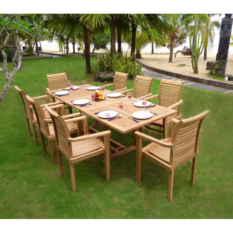 Mobilier En Teck De Jardin, Table Flores En Teck Brut Avec avec Salon De Jardin Foire Fouille