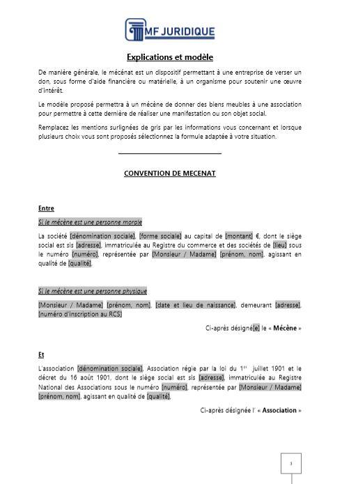 Modèle : Convention De Mécénat D'Entreprise (Don De Biens serapportantà Don De Meuble