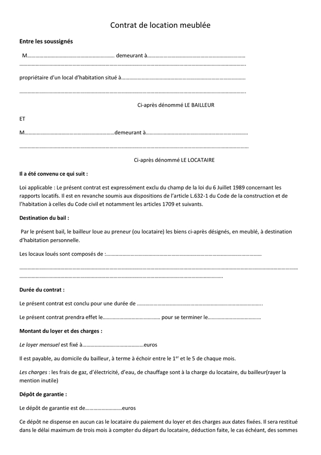 Modelé De Contrat De Location Meublée - Doc, Pdf - Page 1 encequiconcerne Contrat De Location Meublée