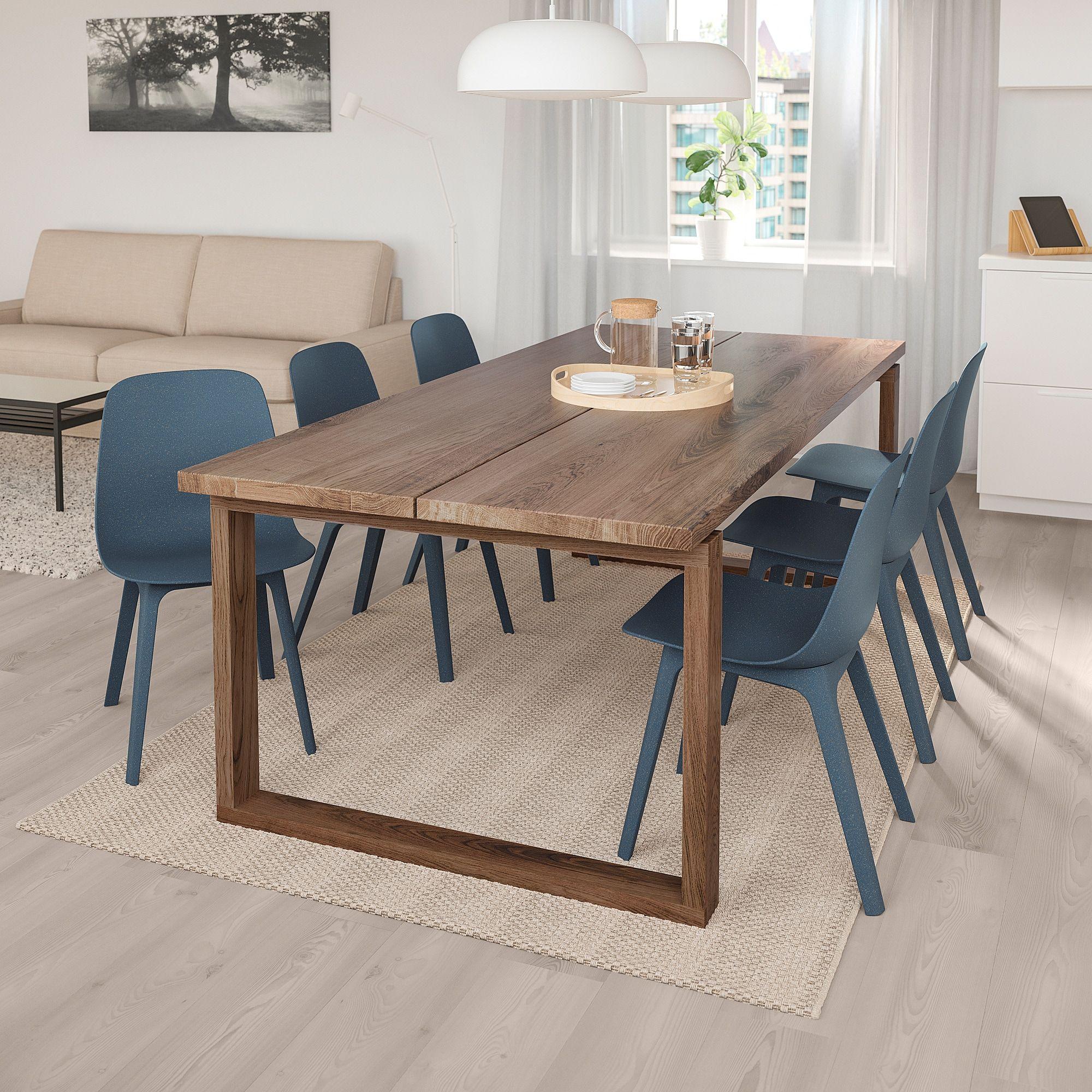 Mörbylånga / Odger Table And 6 Chairs - Oak Veneer, Blue 86 serapportantà Tables Salle À Manger Ikea